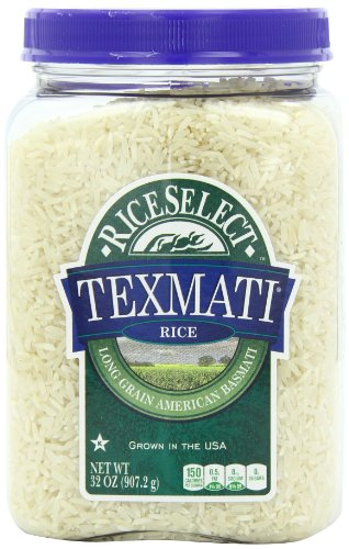 RiceSelect Texmati White Rice, Long Grain American Basmati, 32-Ounce Jars (Pack of 4)