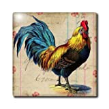 ct_108229_7 Cassie Peters Chickens - Vintage Rooster Digital Art by Angelandspot - Tiles - 8 Inch Glass Tile