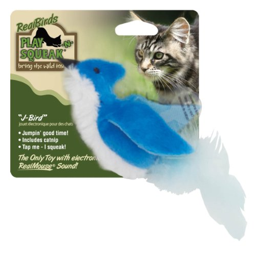 Image OurPets Play-N-Squeak Real Birds J-Bird Interactive Cat Toy