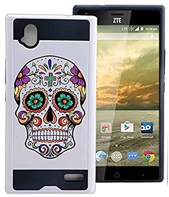 ZTE Warp Elite Z9518 Case Cover Sugar Skull Day Of The Dead by NPCase Hybrid Unique Design Combo Case With Armor Defender Protection Dust Shock Proof Fits ZTE Warp Elite Z9518 Boost from NickyPrints