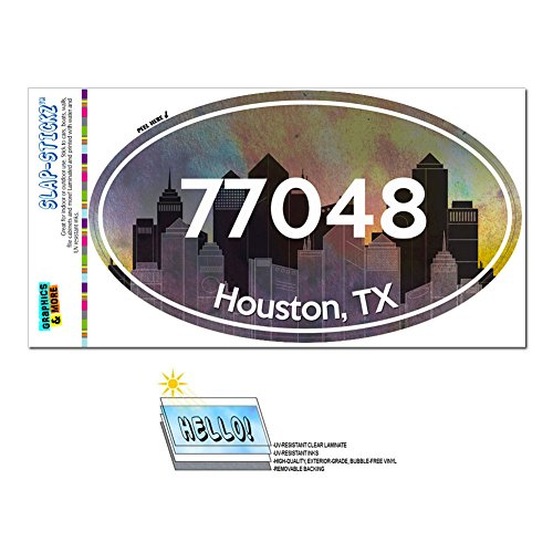 Graphics and More Zip Code 77048 Houston, TX Euro Oval Window Bumper Glossy Laminated Sticker - City