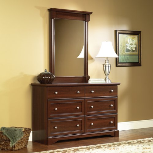 Elegant Cherry Finish Dresser Chest Of Drawers W BONUS Mirror