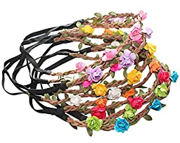 LASASA(TM) Bohemian Flower Crown Floral Garland Headbands Pack Of 9