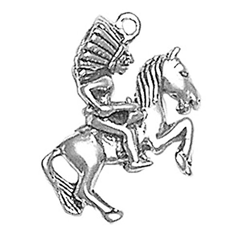 925 Sterling Silver Native American Indian Riding Chief On Horse Pendant Charm