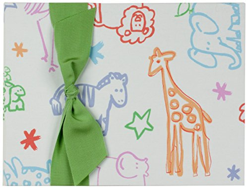 Tessera Baby Books Memory Book Animals with Green Grosgrain Ribbon, Cream