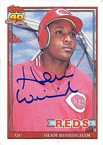 herm-winningham-autographed-baseball-card-cincinnati-reds-1991-topps-204