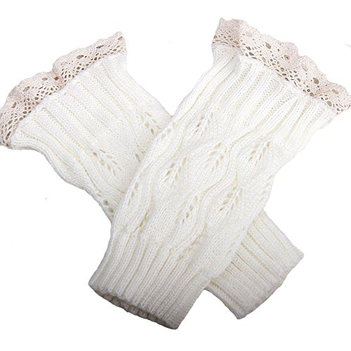 ILOVEDIY White Knitted Lace Boot Cuffs Toppers for Women Girls Leg Warmers Socks