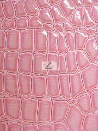 """VINYL FAUX FAKE LEATHER PLEATHER EMBOSSED SHINY ALLIGATOR FABRIC - Pink - 54"""" WIDTH SOLD BY THE YARD"""