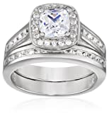 Sterling Silver Simulated Diamond Cushion Cut Wedding Ring Set, Size 7