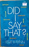 img - for Did I Say That? book / textbook / text book
