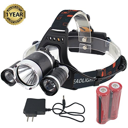 GYY Super Bright Headlamp Headlight Flashlight 4 Modes 3 CREE T6 LED Light Torches with 18650 Rechargeable Batteries and Charger (Chevy Cruze Power compare prices)