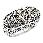925 Silver Filigree Swirl Ring with 18k Gold Accents- Size 6