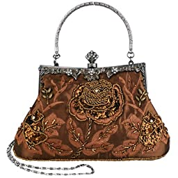 MG Collection Ginny Exquisite Antique Seed Beaded Rose Evening Bag, Brown, One Size