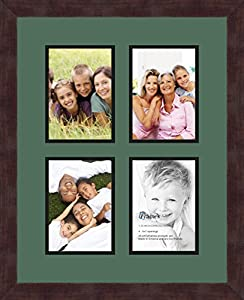 ArtToFrames 1.25-Inch Espresso Picture Frame with 4 Openings of 5 by 7-Inch and a Laurel Top Mat and Black Bottom Mat