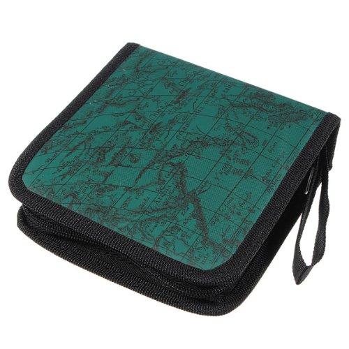 sonline-40-disc-fashion-map-cd-dvd-storage-holder-sleeve-case-box-wallet-bag-album-zipper-green