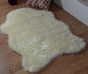 Cream ivory faux fur single sheepskin stule rug 70 x 100 cm