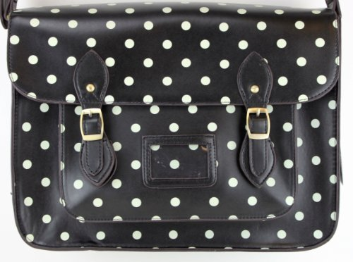 LYDC New 16″ Black Polka Dots Spots Work Briefcase School Satchels Women Hand Shoulder Bag