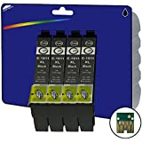 4 Black XL non-original Ink Cartridges for Epson Expression Home XP-30, XP-102, XP-202, XP-205, XP-212, XP-215, XP-225, XP-302, XP-305, XP-312, XP-315, XP-322, XP-325, XP-402, XP-405, XP-405WH, XP-412, XP-415, XP-422, XP-425