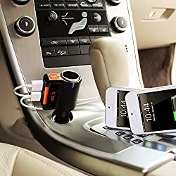 iSunnao Wireless FM Transmitter with In-Car Bluetooth Receiver - Lighter Charging Port - Dual USB Charging Ports (5V, 3.1A) - Perfect for , Samsung, HTC or Smartphone and Tablet (Black - BC09)
