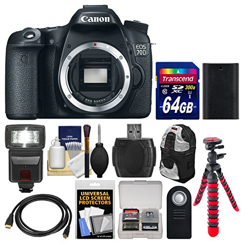 Canon Eos 70D Digital Slr Camera Body With 64Gb Card + Backpack + Flash + Battery + Flex Tripod + Remote Kit
