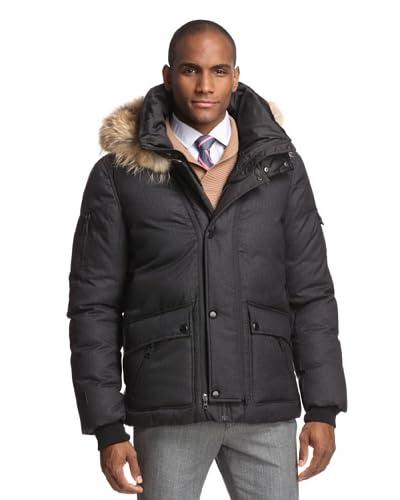 Soia & Kyo Men's Keith Trendy Down Zip Front Jacket with Hood Fur  [Black]