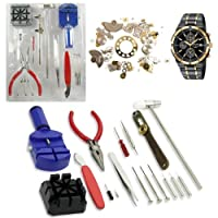 16PC Watch Repair Tool Kit Band Pin Strap Link Remover Back Opener Screwdrivers Tweezers Kit