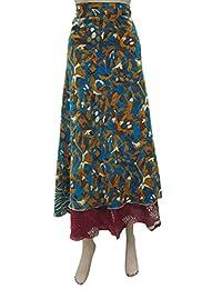 Mogul Interior Designs Womans Wrap Skirt Vintage Silk