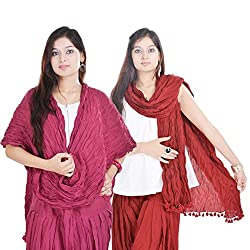 Kalrav Solid Pink and Maroon Cotton Dupatta Combo