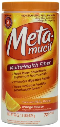 Metamucil Multi-Health Fiber by Meta, Orange Coarse Sugar Powder 72 Teaspoons 29 Ounce