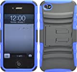 BLACK / BLUE ARMOR DEFENDER CASE WITH STAND + HOLSTER BELT CLIP FOR IPHONE 4 4S