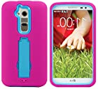 myLife Persian Pink + Natural Blue {Horizontal and Vertical Kickstand Design} 3 Piece Hard and Soft Case for the for the LG G2 Smartphone (External Soft Silicone Flexible Bumper Gel + Internal Rubberized 2 Piece Snap On Hard Safe Shell)