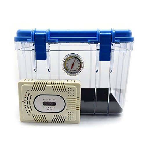 Patu Dehumidifier Dry Storage Box With Hygrometer - 9L Case For Digital Gadgets, DSLR SLR Mirrorless Instax GoPro Camera, Lens, Accessories, Blue (Dehumidifier Camera compare prices)