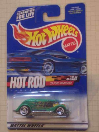 Hot Rod Magazine Series #4 1933 Ford Roadster Razor Wheels #2000-8 Collectible Collector Car Mattel Hot Wheels 1:64 Scale - 1
