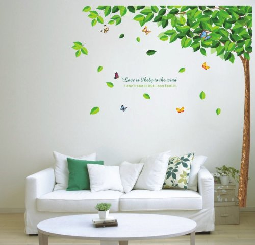 Home Decor Decals Poster House Wall Stickers Quotes Removable Vinyl Large Wall Sticker For Kids Rooms Butterfly Tree W-30 front-565726
