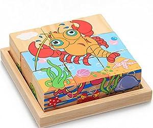 Crab Lobster Sechs gemalt neun Holzpuzzle 3D dreidimensionale Bausteine f¨¹r Kinder Kreative Geburtstagsgeschenk Holz Bildungs-Spielzeug f¨¹r Kinder Weihnachten Spielzeug