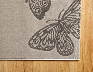 Open-Butterfly Area Rug In Light Grey Background with Aqua,Purple and Dark Grey Butterflies /120x170cm by Home Solutions