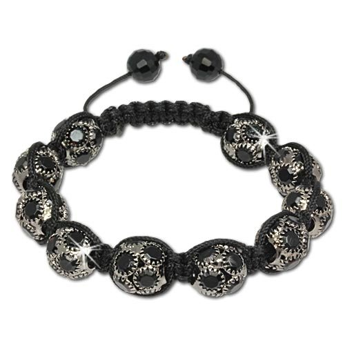 SilberDream Big Black Crystal Bead Shamballa Bracelet unisex with 12mm big black Zirconia iced out Disco ball beads SDA926