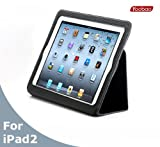 AYL Slim Leather Case Folio with Magnetic Closure for iPad 2 - Black