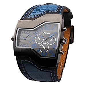 Men's Watch - Oulm Sports Watch Student Watch Military Men's Watch with Dual Movt Dial Leather Band - Quality alloy + vacuum ion plating layer Cover (Blue)