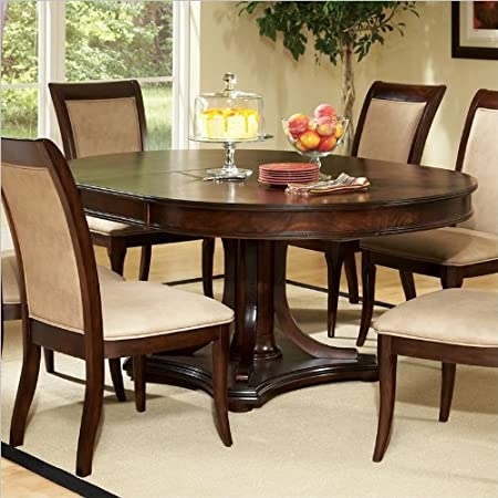 Steve Silver Company Marseille Pedestal Dining Table with Leaf in Dark Cherry
