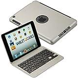 Cooper Cases(TM) Kai Skel Bluetooth-Tastatur-Hülle Clamshell NoteBook für Apple iPad Mini in Silber (82 Tasten, 55 Stunden Akku, Macbook gleichermaßes Design, Auto On / Off Deckel, gleichzeitige iPad / Keyboard Aufladen)