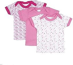 BIG OSHI Baby 3 Pack Lap Shoulder Crewneck Undershirt T-Shirts - PLK-803 - Pink, 9-12 Months