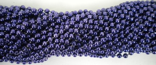 33 inch 07mm Round Metallic purple Mardi Gras Beads - 6 Dozen (72 necklaces)