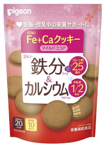 ピジョン 鉄分&カルシウム Fe+Caクッキー マイルドココア 40g×5個