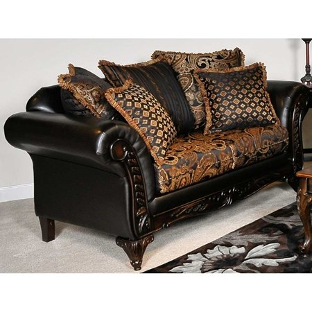 Elegant Traditional Upholstered Loveseat - Carved Wood Trim by Chelsea Home Furniture