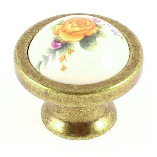 Bedroom Yellow Flower Pattern Ball Shape Ceramic Furniture Door Drawer Knob - 1