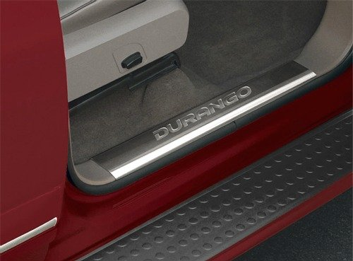 Mopar 82212281 OEM Dodge Durango Stainless Steel Door Entry Guards with Logo - Dorr Entry Guards