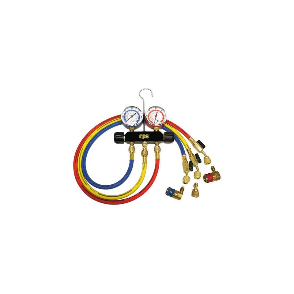CPS Products MB234 Black Max Dual Brass AC Manifold for R 12 & R 134A