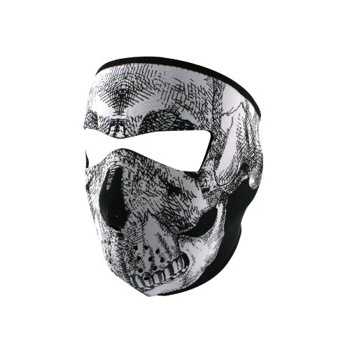 ZANheadgear Neoprene Skull Face Mask (Black/White)