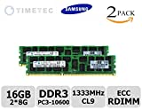 Timetec Hynix® (P/N HMT41GR7MFR4A-H9) 16GB KIT (2*8GB) Single Rank 1333MHz DDR3 (PC3-10600) ECC Registered CL9 240-Pin R-DIMM 1Rx4 512x8 1.35V Reg In-Line Server Memory Module Upgrade - For Selected Acer  ASRock  Dell   Fujitsu  Gateway  HP  Intel  Supermicro (16GB Kit (2*8GB))